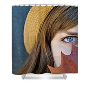 Young Woman And Leaf Shower Curtain