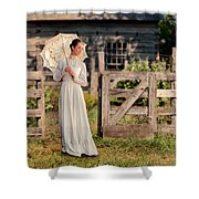 Beautiful Woman In White Dress With Parasol Shower Curtain