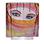 Beautiful Woman With Niqab Watercolor Painting Shower Curtain