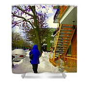 Beautiful Yellow Staircase Verdun Snow Scene Montreal Art Colors Of Quebec Carole Spandau Shower Curtain