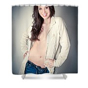 Beautiful Young Woman Shower Curtain