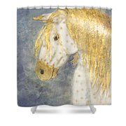 Beauty And Strength  Golden Appaloosa Shower Curtain