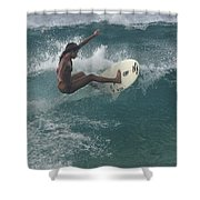 Beauty On A Surf Board Shower Curtain