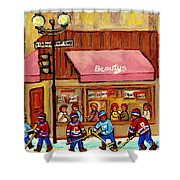 Beauty's Restaurant Paintings Of Plateau Montreal Winter Scenes Hockey Art Carole Spandau  Shower Curtain