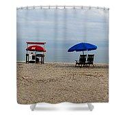 Beach Chairs Panorama Hilton Head  Shower Curtain