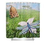 Beckoning The Little Predator To Come Closer Shower Curtain