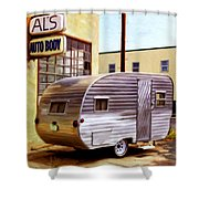 Becky's Vintage Travel Trailer Shower Curtain