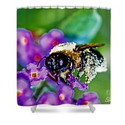 Super Bee Covered With Pollen Shower Curtain