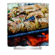 Beef Kababs On The Grill Closeup Shower Curtain