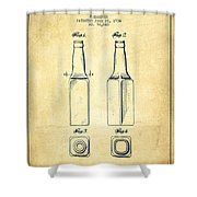Beer Bottle Patent Drawing From 1934 - Vintage Shower Curtain by Aged Pixel
