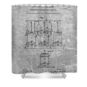 Beer Brewery Patent Charcoal Shower Curtain