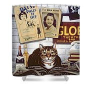 Beerbohm, The Theatre Cat Oil & Tempera On Panel Shower Curtain