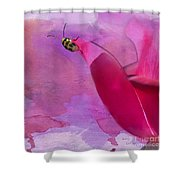 Beetle On A Rose Shower Curtain