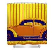 Beetle Pop Gold Shower Curtain