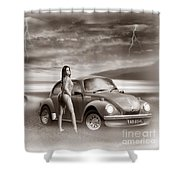 Beetles At The Beach Shower Curtain