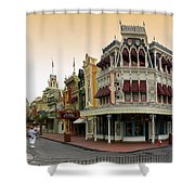 Before The Gates Open Early Morning Magic Kingdom With Castle. Shower Curtain