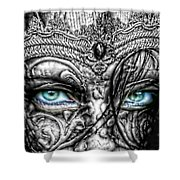 Behind Blue Eyes Shower Curtain by Mo T