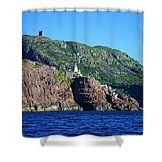 Behind Fort Amherst Rock By Barbara Griffin Shower Curtain