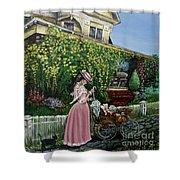 Behind The Garden Gate Shower Curtain by Linda Simon