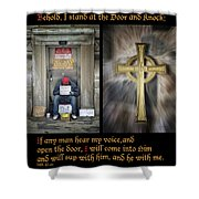 Behold I Stand At The Door Composite Shower Curtain