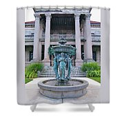 Beiger Mansion Front Entrance Shower Curtain