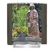 Beiger Mansion Statue Shower Curtain