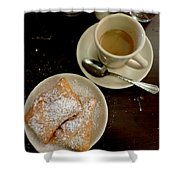 New Orleans Beignets And Coffee Au Lait  Shower Curtain