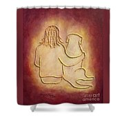 Being There 3 - Dog And Friend Shower Curtain