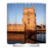 Belem Tower At Sunrise In Lisbon Shower Curtain