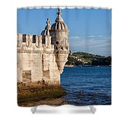 Belem Tower Fortification On The Tagus River Shower Curtain
