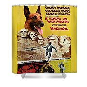 Belgian Malinois Art Canvas Print - North By Northwest Movie Poster Shower Curtain
