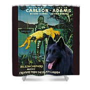 Belgian Shepherd Art Canvas Print - Creature From The Black Lagoon Movie Poster Shower Curtain