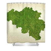 Belgium Grass Map Shower Curtain by Aged Pixel