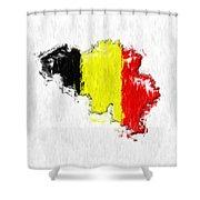 Belgium Painted Flag Map Shower Curtain