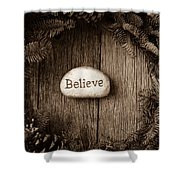 Believe In Text In The Center Of A Christmas Wreath Shower Curtain