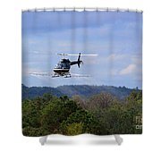 Bell 206 Helicopter Shower Curtain