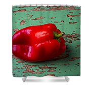 Bell Pepper On Green Board Shower Curtain