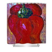 Red Bell Pepper Takes Center Stage Shower Curtain