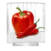 Bell Pepper With Chili Peppers Shower Curtain