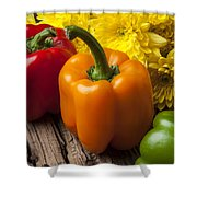 Bell Peppers And Poms Shower Curtain