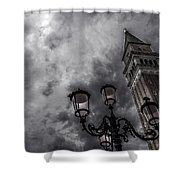 Bell Tower And Street Lamp Shower Curtain