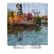 Bell Tower At The Botanic Gardens In Autumn Shower Curtain