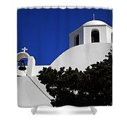 Bella Santorini Island Church Greece  Shower Curtain
