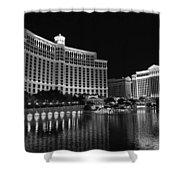 Bellagio Nights 2 Bw Shower Curtain by Jenny Hudson