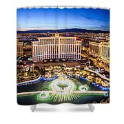 Bellagio Rountains From Eiffel Tower At Dusk Shower Curtain