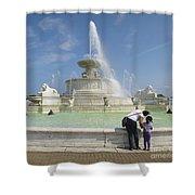 Belle Isle Fountain Splash Shower Curtain