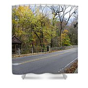 Bells Mill Road In Autumn Shower Curtain
