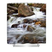 Below Alberta Falls II Shower Curtain