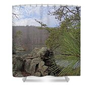 Below Badin Dam Shower Curtain