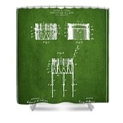 Bemis Snare Drum Patent Drawing From 1886 - Green Shower Curtain